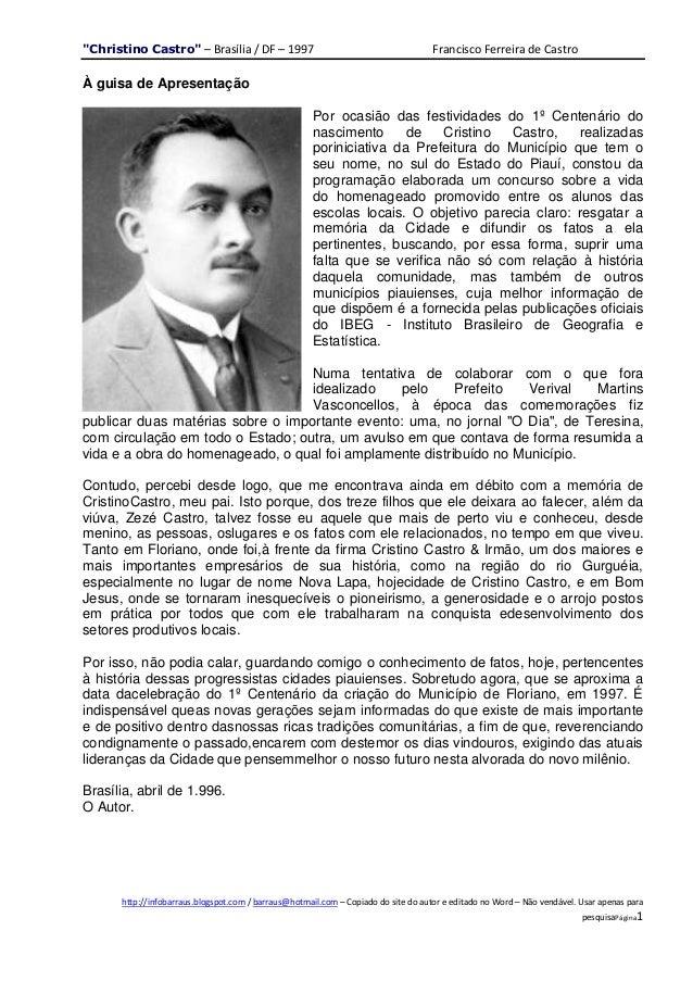 """""""Christino Castro"""" – Brasília / DF – 1997                                           Francisco Ferreira de CastroÀ guisa de..."""