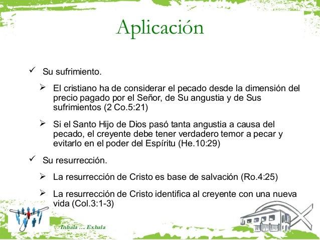 Aplicación Su sufrimiento.   El cristiano ha de considerar el pecado desde la dimensión del    precio pagado por el Seño...