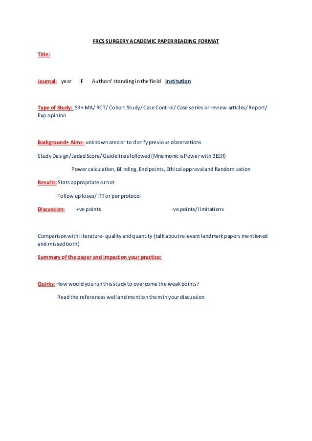 academic paper formats