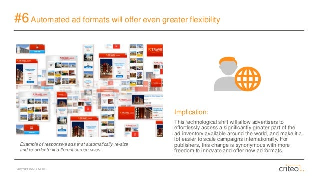 Copyright © 2015 Criteo #6Automated ad formats will offer even greater flexibility Implication: This technological shift w...