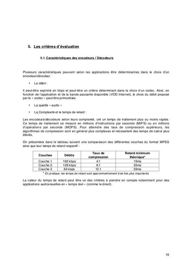 16 5. Les critères d'évaluation 5.1. Caractéristiques des encodeurs / Décodeurs Plusieurs caractéristiques peuvent selon l...
