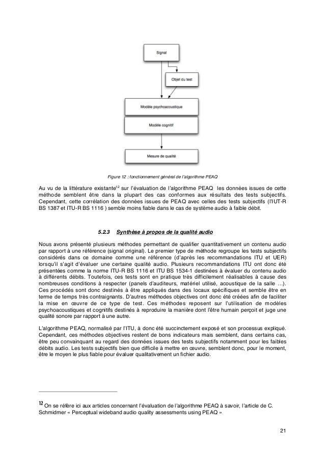 21 Figure 12: fonctionnement général de l'algorithme PEAQ Au vu de la littérature existante12 sur l'évaluation de l'algor...