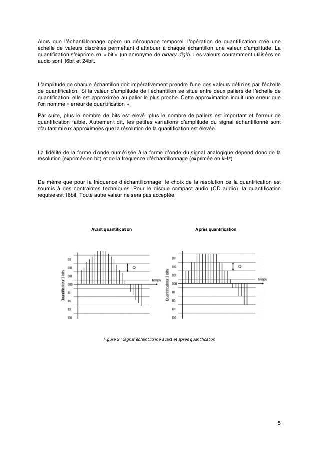 5 Alors que l'échantillonnage opère un découpage temporel, l'opération de quantification crée une échelle de valeurs discr...