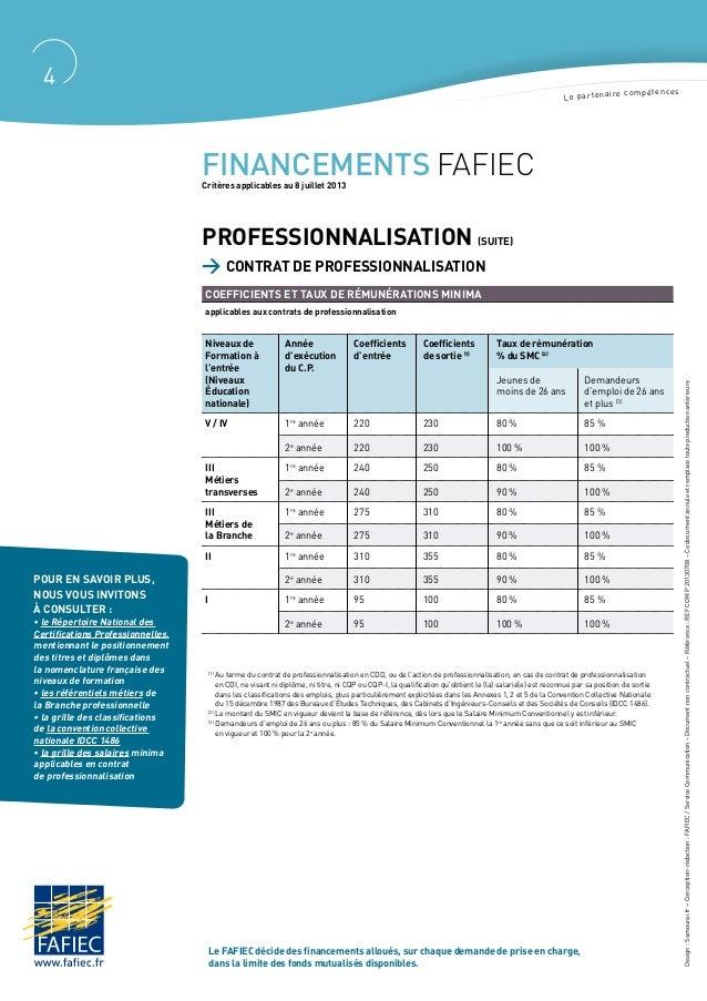 Les nouveaux crit res financement fafiec 2013 - Grille salaire contrat de professionnalisation ...
