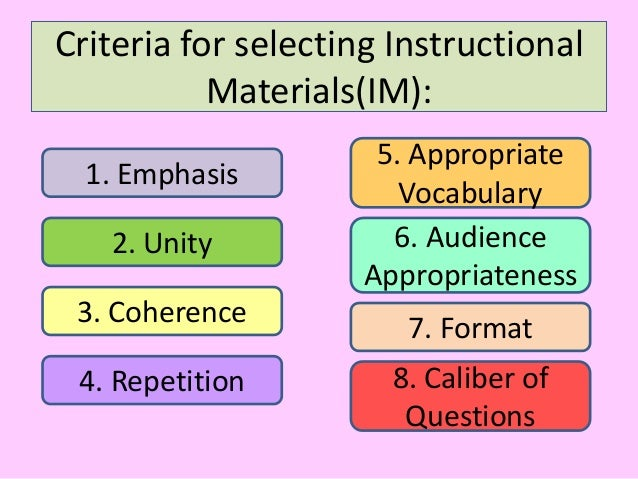 Completing the learning experience: instructional materials.