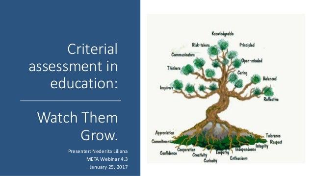 Criterial assessment in education: Watch Them Grow. Presenter: Nederita Liliana META Webinar 4.3 January 25, 2017