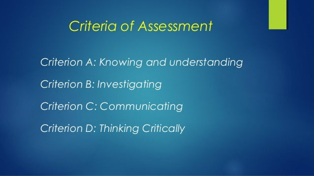 MYP Individuals and Society Criteria of assessment