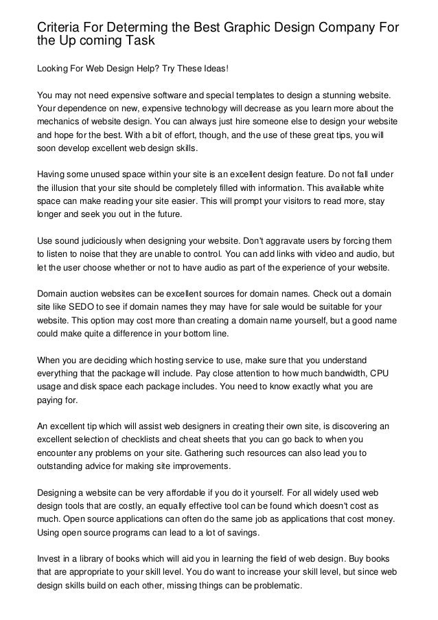 Criteria for determing the best graphic design company for the up com criteria for determing the best graphic design company forthe up coming tasklooking for web design help solutioingenieria Choice Image