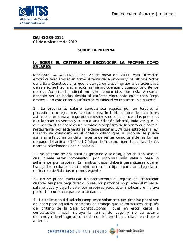 DIRECCIÓN DE ASUNTOS JURÍDICOSMinisterio de Trabajoy Seguridad Social         DAJ-D-233-2012         01 de noviembre de 20...