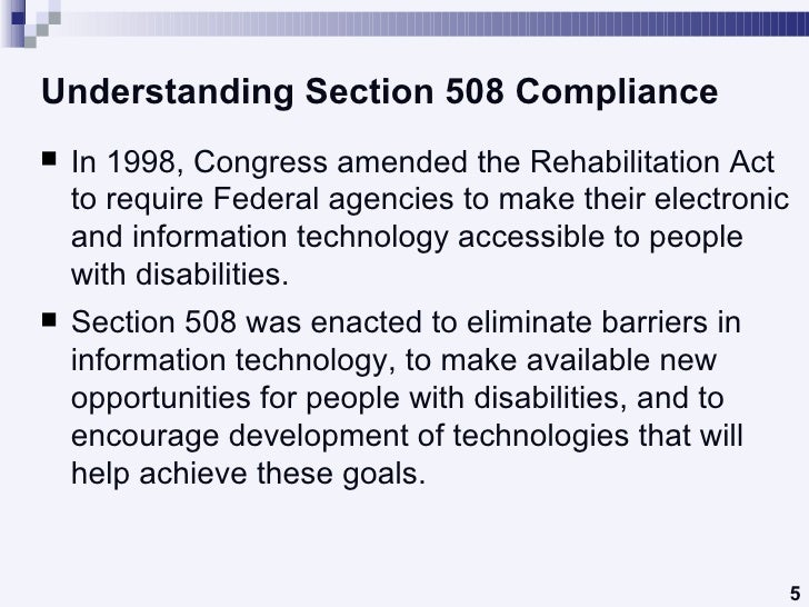 Section 508 Compliance Checklist Overview Creating