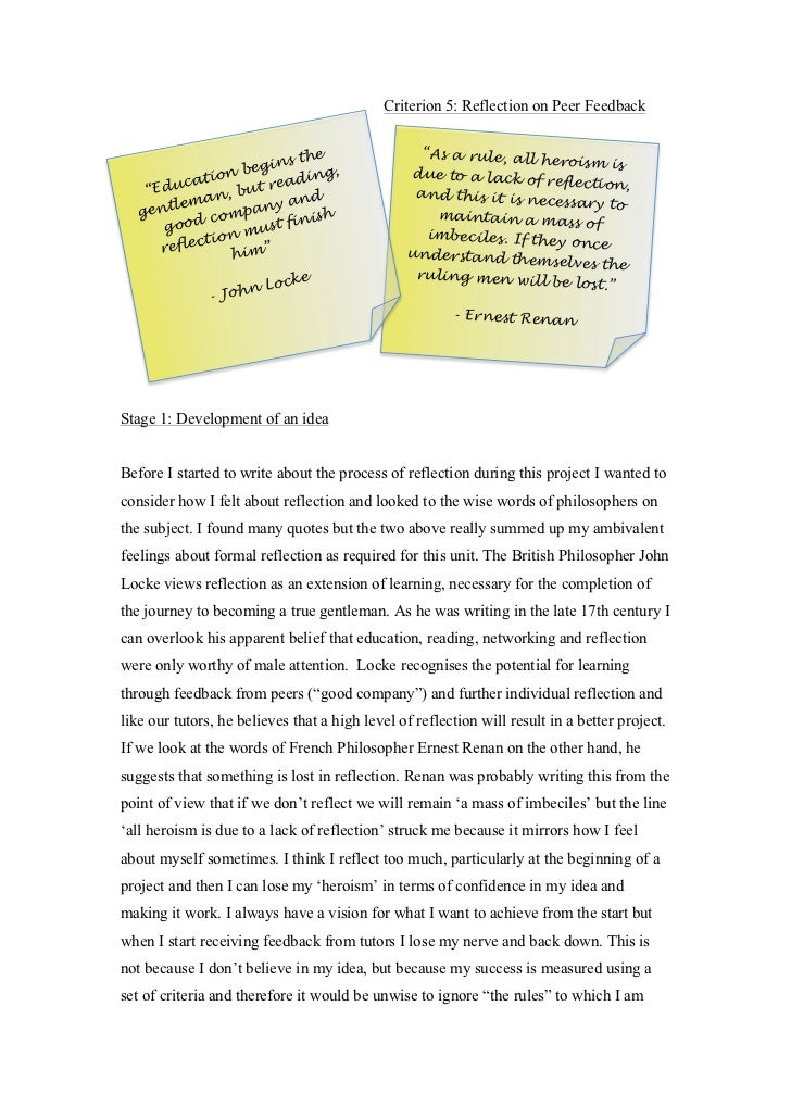 criterion essay criterion 5 reflection on peer feedback ""