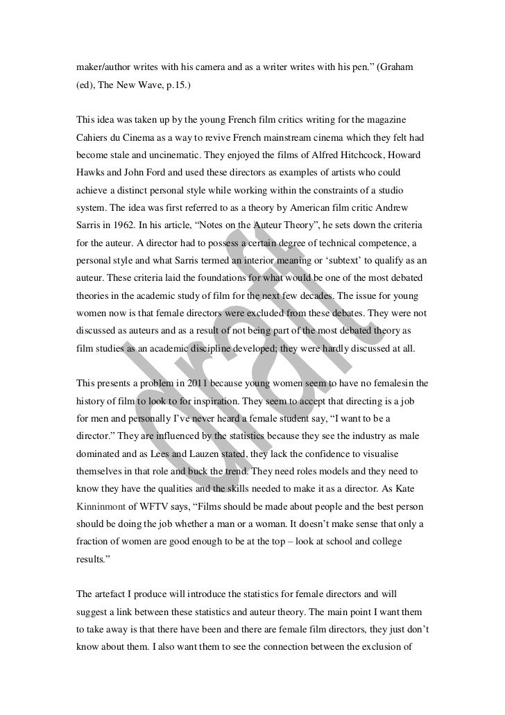 criterion one essay the film 3 maker author