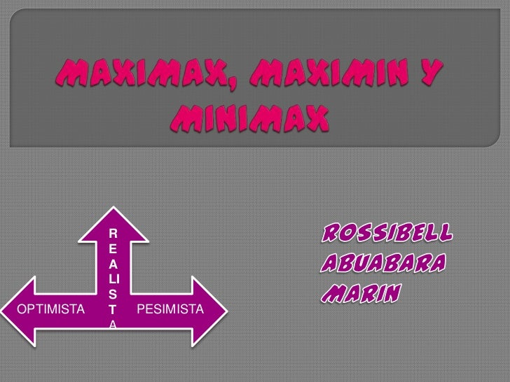 MAXIMAX, MAXIMIN Y MINIMAX<br />ROSSIBELL ABUABARA MARIN<br />REALISTA<br />PESIMISTA<br />OPTIMISTA<br />
