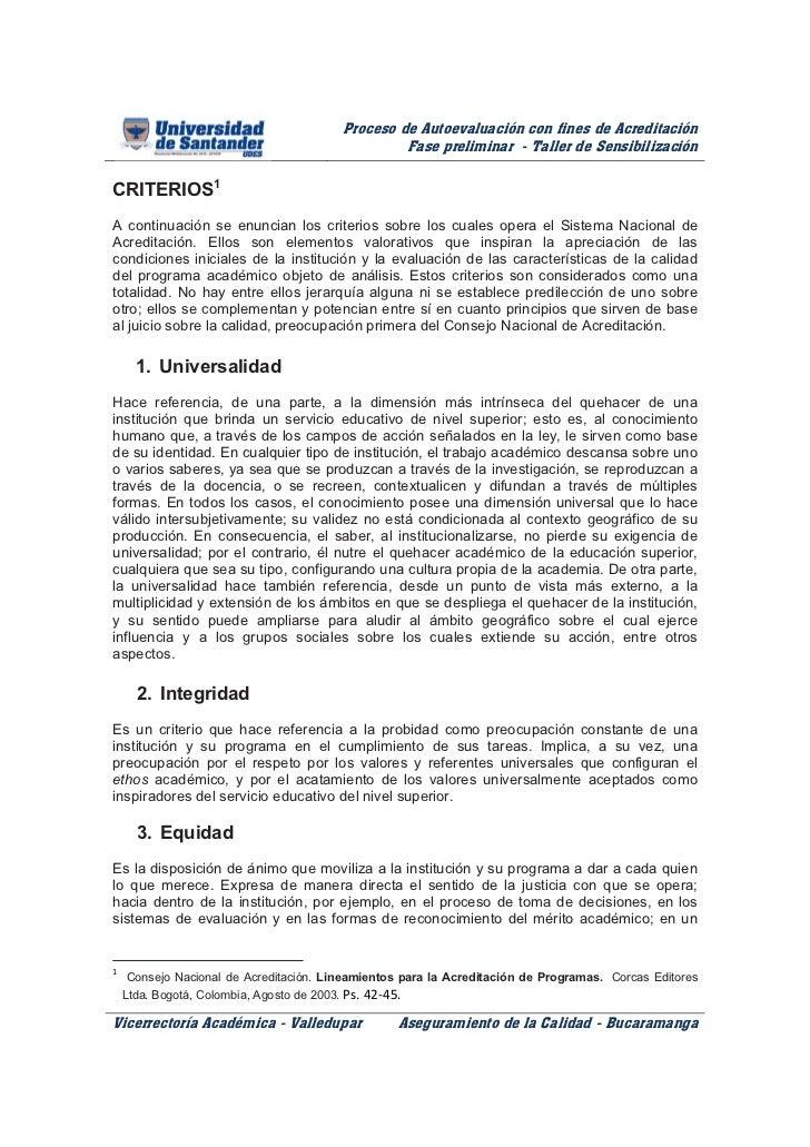 Proceso de Autoevaluación con fines de Acreditación                                                   Fase preliminar - Ta...