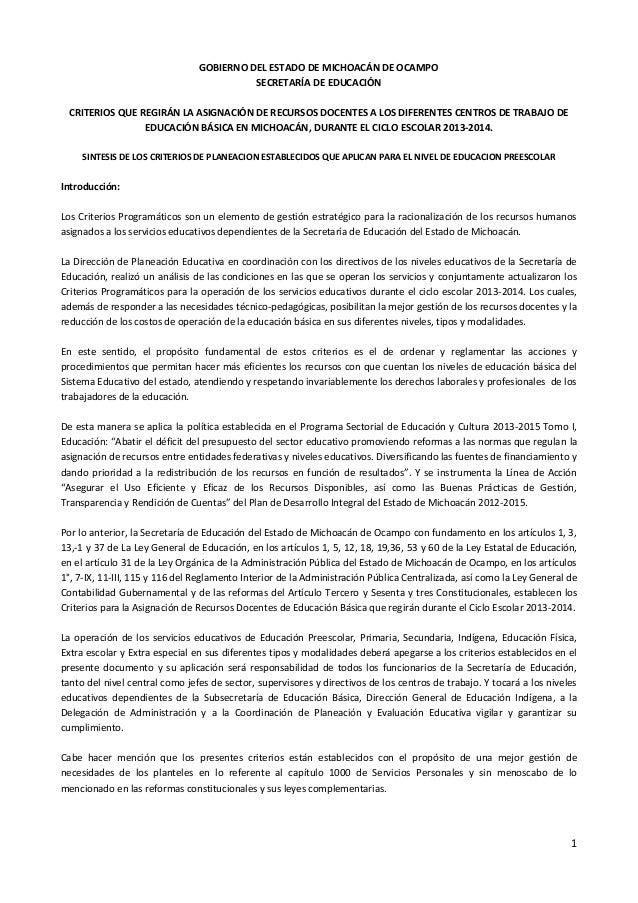 GOBIERNO DEL ESTADO DE MICHOACÁN DE OCAMPO SECRETARÍA DE EDUCACIÓN CRITERIOS QUE REGIRÁN LA ASIGNACIÓN DE RECURSOS DOCENTE...