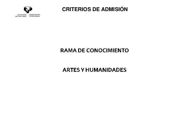 CRITERIOS DE ADMISIÓN