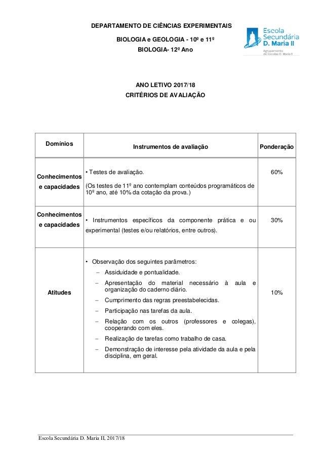 Escola Secundária D. Maria II, 2017/18 DEPARTAMENTO DE CIÊNCIAS EXPERIMENTAIS BIOLOGIA e GEOLOGIA - 10º e 11º BIOLOGIA- 12...