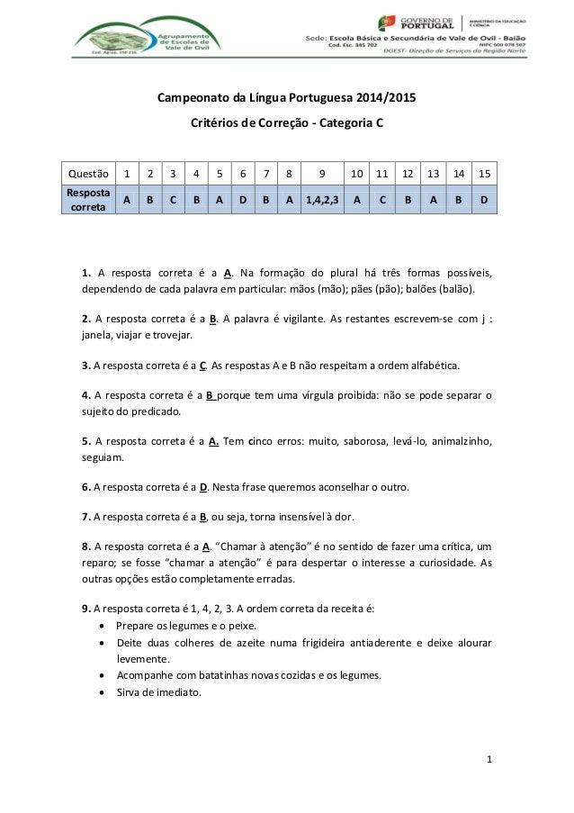1 Campeonato da Língua Portuguesa 2014/2015 Critérios de Correção - Categoria C Questão 1 2 3 4 5 6 7 8 9 10 11 12 13 14 1...