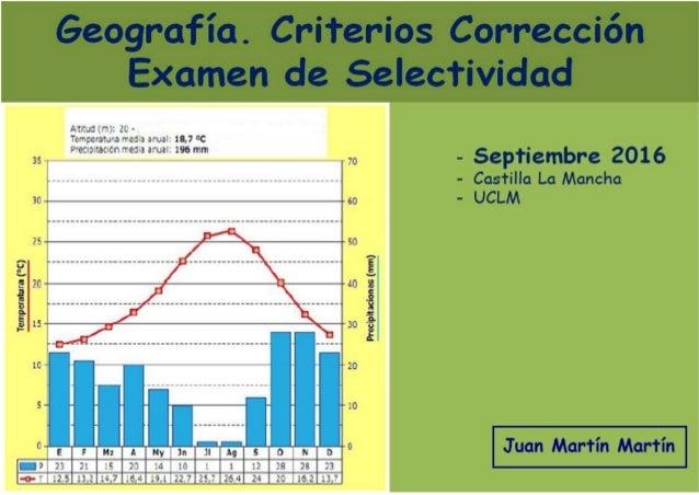 Pruebas de acceso a estudios de Grado (P.A.E.G.) Materia: Geografía CRITERIOS DE CORRECCIÓN DEL EXAMEN Convocatoria de sep...
