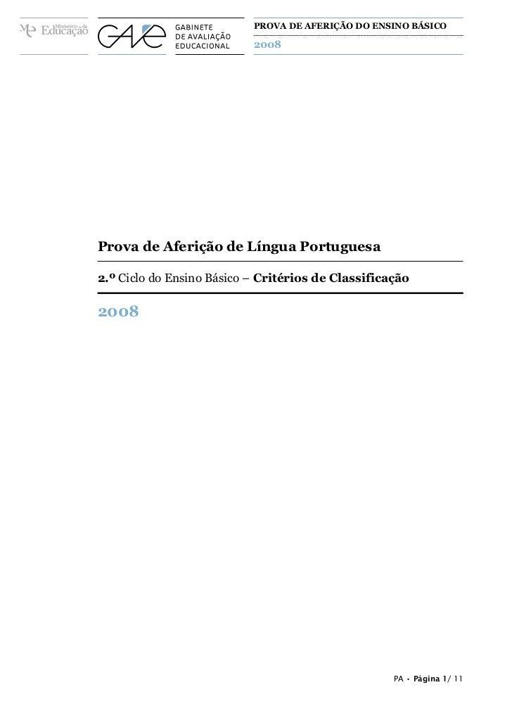 PROVA DE AFERIÇÃO DO ENSINO BÁSICO                                     2008A PREENCHER PELO ALUNONomeA PREENCHER PELO AGRU...