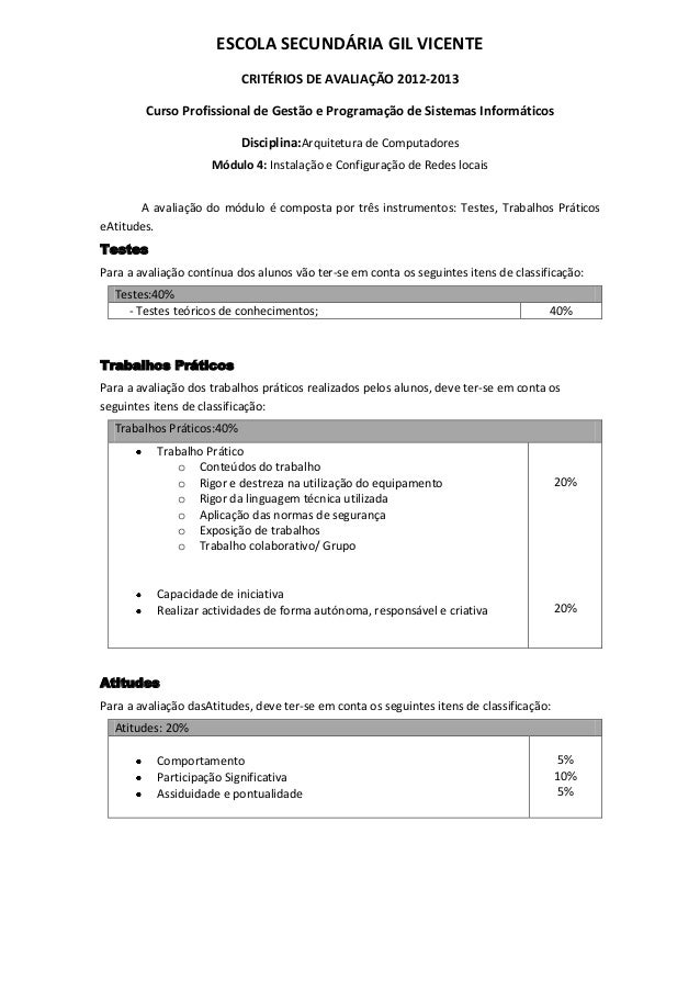 ESCOLA SECUNDÁRIA GIL VICENTE                           CRITÉRIOS DE AVALIAÇÃO 2012-2013        Curso Profissional de Gest...