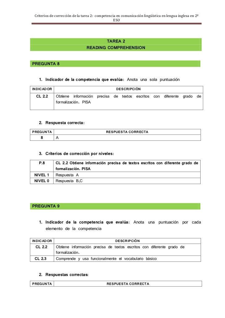 Criterios de corrección de la tarea 2: competencia en comunicación lingüística en lengua inglesa en 2º                    ...