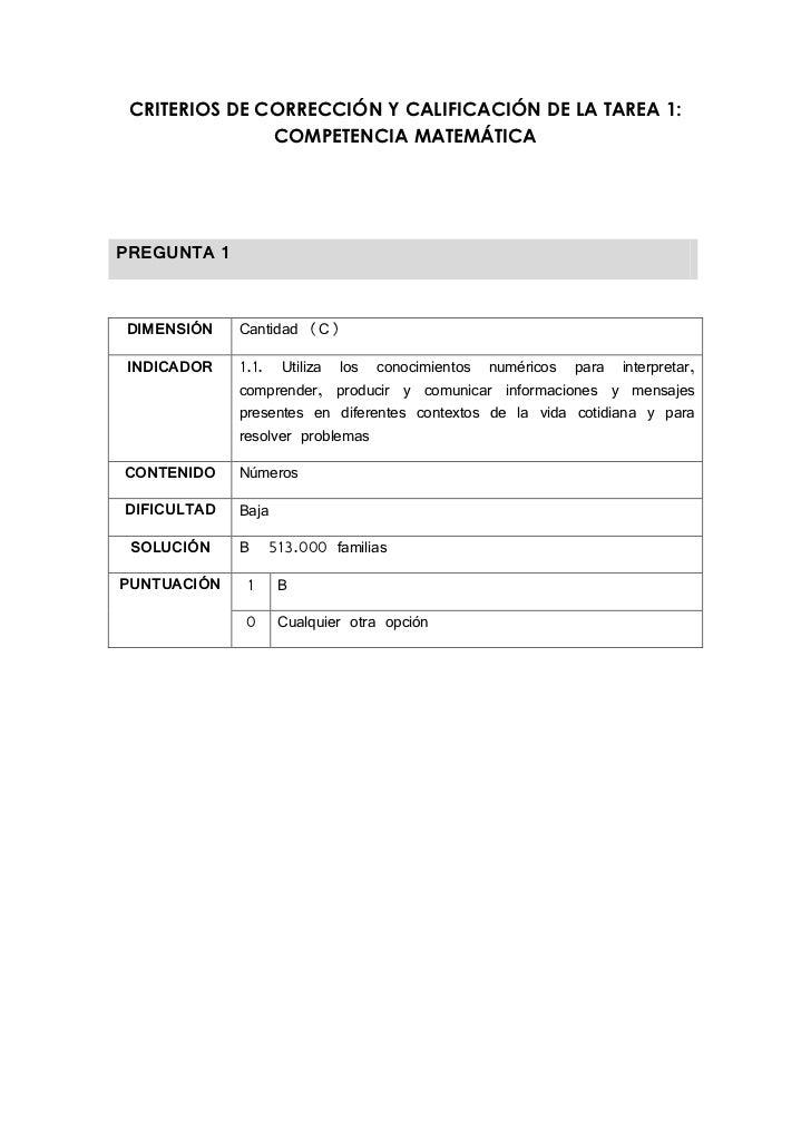 CRITERIOS DE CORRECCIÓN Y CALIFICACIÓN DE LA TAREA 1:               COMPETENCIA MATEMÁTICAPREGUNTA 1DIMENSIÓN    Cantidad ...