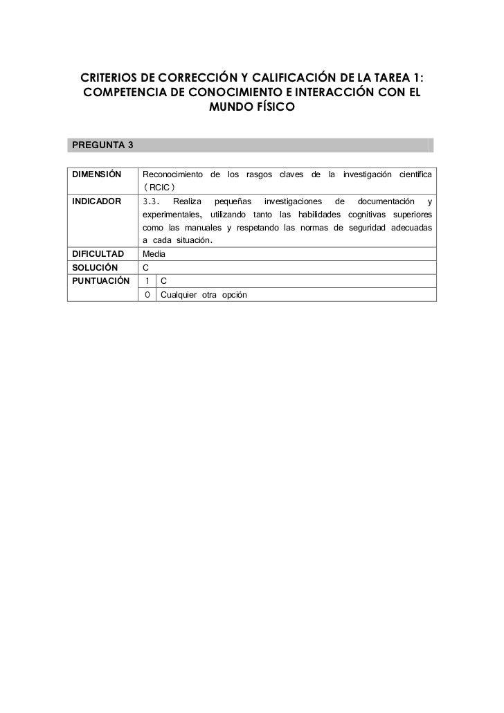 CRITERIOS DE CORRECCIÓN Y CALIFICACIÓN DE LA TAREA 1: COMPETENCIA DE CONOCIMIENTO E INTERACCIÓN CON EL                    ...