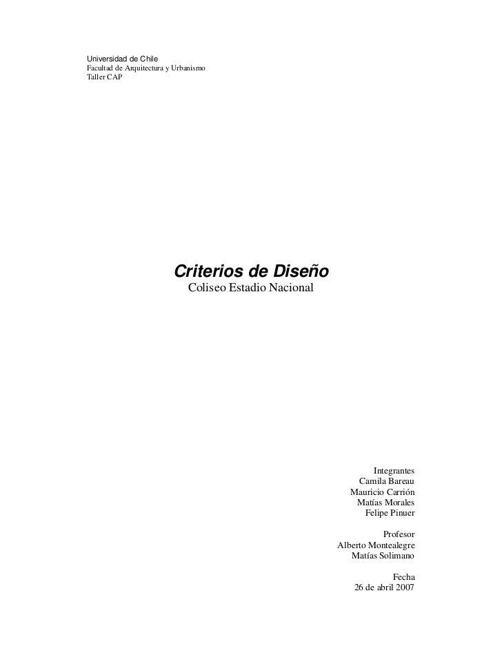 Universidad de ChileFacultad de Arquitectura y UrbanismoTaller CAP                          Criterios de Diseño           ...