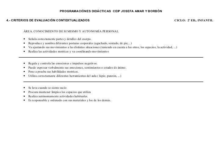 PROGRAMACIÓNES DIDÁCTICAS CEIP JOSEFA AMAR Y BORBÓN4.- CRITERIOS DE EVALUACIÓN CONTEXTUALIZADOS                           ...