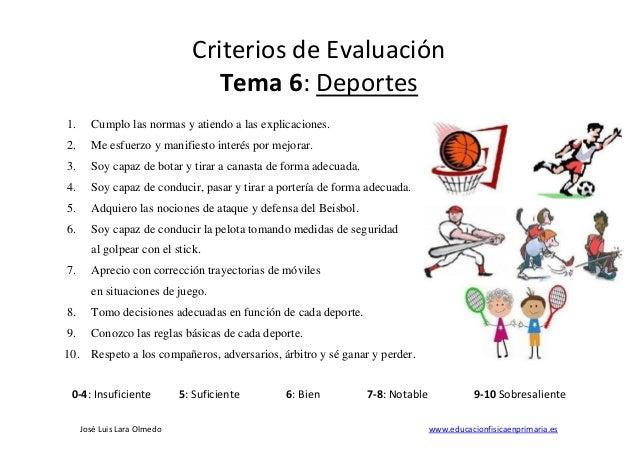 Jos� Luis Lara Olmedo www.educacionfisicaenprimaria.es Criterios de Evaluaci�n Tema 6: Deportes 1. Cumplo las normas y ati...