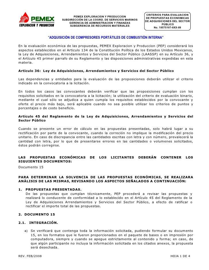 CRITERIOS PARA EVALUACION                                   PEMEX EXPLORACION Y PRODUCCION                                ...
