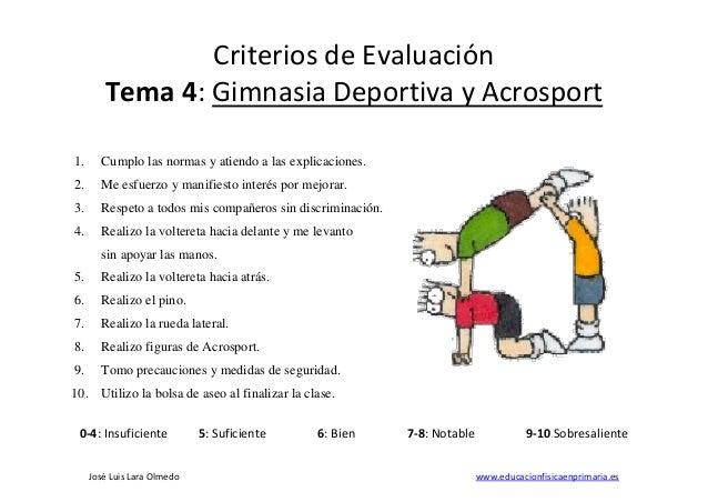 Jos� Luis Lara Olmedo www.educacionfisicaenprimaria.es Criterios de Evaluaci�n Tema 4: Gimnasia Deportiva y Acrosport 1. C...