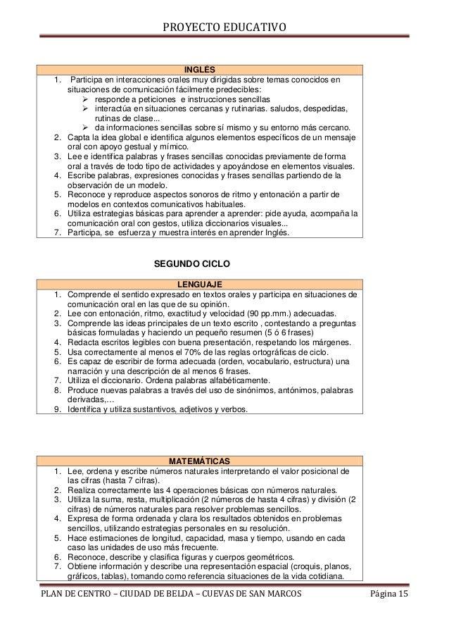 PROYECTO EDUCATIVO                                        INGLÉS  1.    Participa en interacciones orales muy dirigidas so...