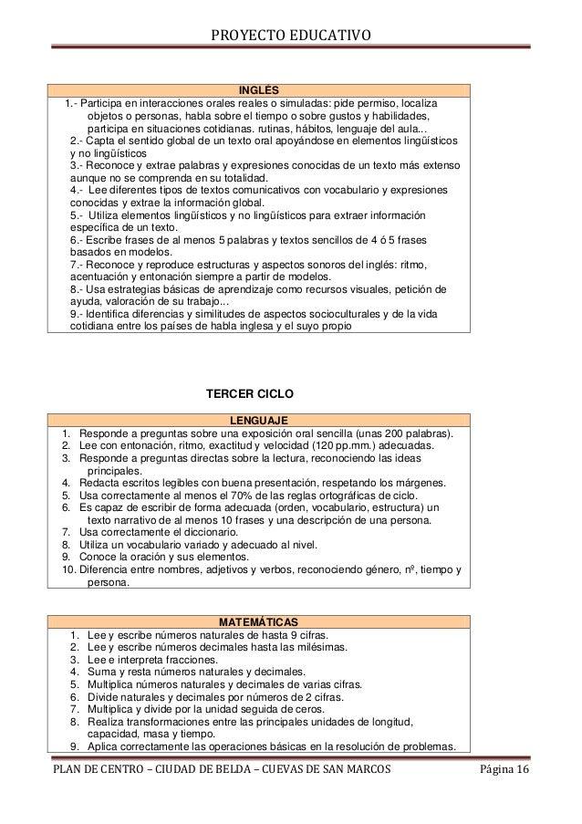 PROYECTO EDUCATIVO                                         INGLÉS 1.- Participa en interacciones orales reales o simuladas...