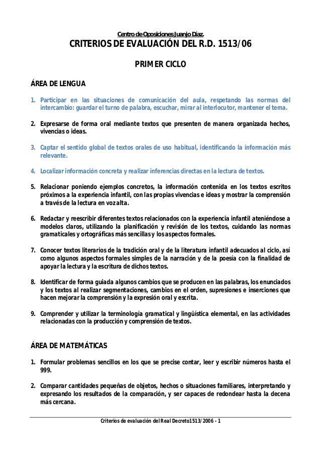 Centro de Oposiciones Juanjo Díaz. Criterios de evaluación del Real Decreto1513/2006 - 1 CRITERIOS DE EVALUACIÓN DEL R.D. ...