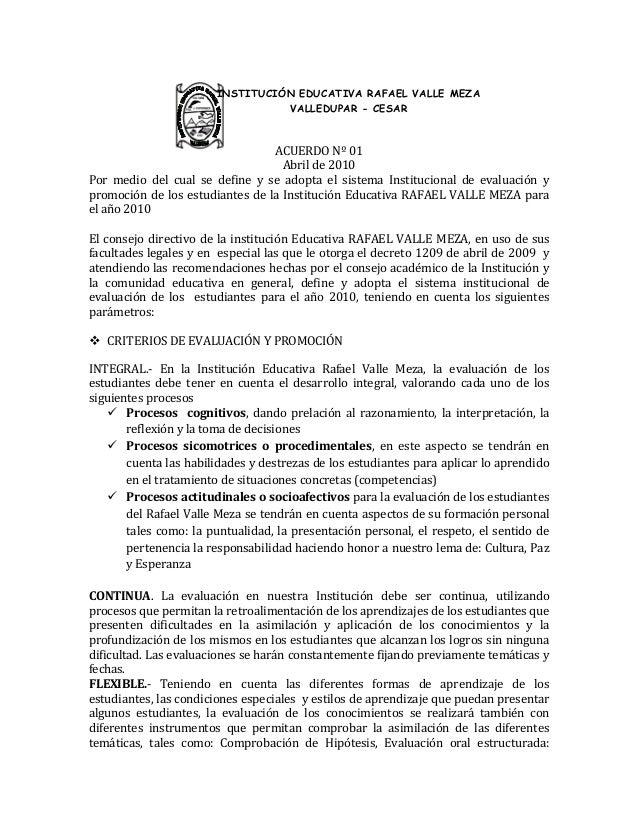 ACUERDO Nº 01 Abril de 2010 Por medio del cual se define y se adopta el sistema Institucional de evaluación y promoción de...