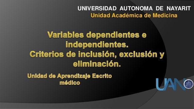 UNIVERSIDAD AUTONOMA DE NAYARIT Unidad Académica de Medicina