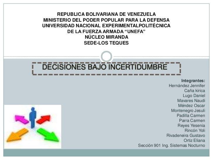 REPUBLICA BOLIVARIANA DE VENEZUELA<br />MINISTERIO DEL PODER POPULAR PARA LA DEFENSA<br />UNIVERSIDAD NACIONAL EXPERIMENTA...