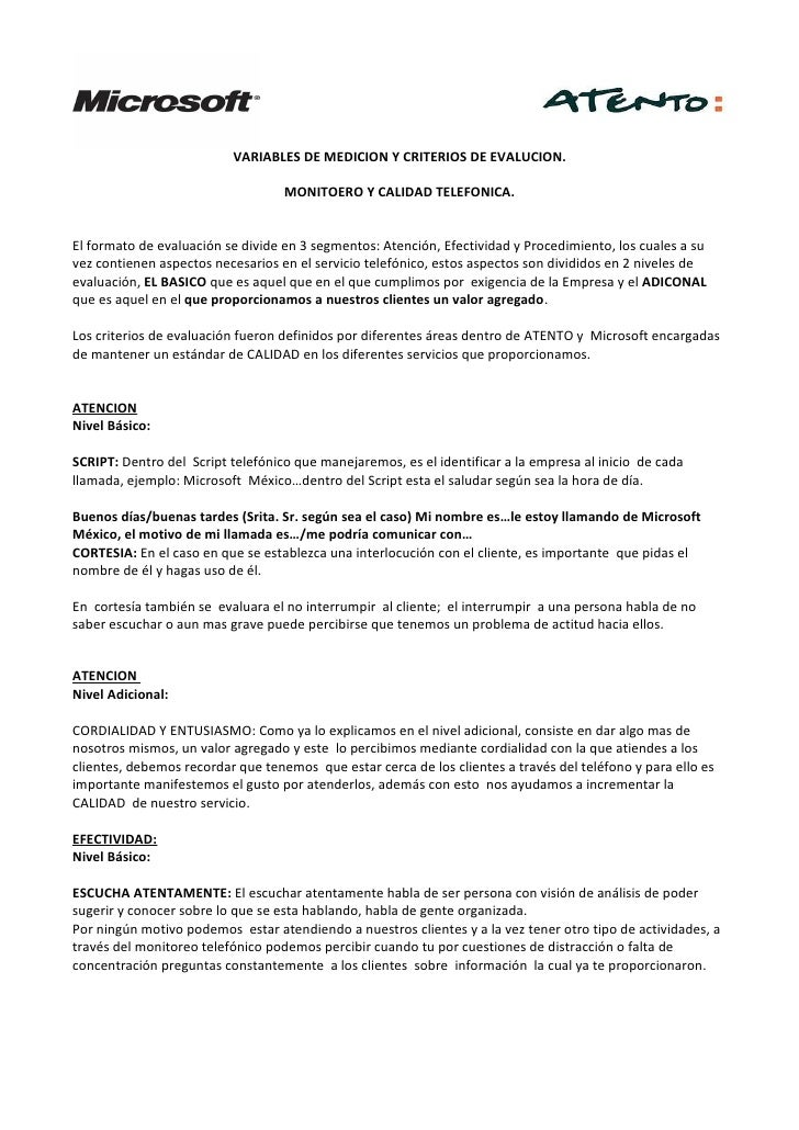 Criterios de monitoreo y calidad telefonica