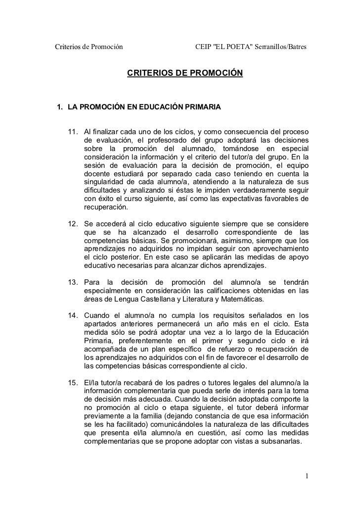 """Criterios de Promoción                     CEIP """"EL POETA"""" Serranillos/Batres                         CRITERIOS DE PROMOCI..."""