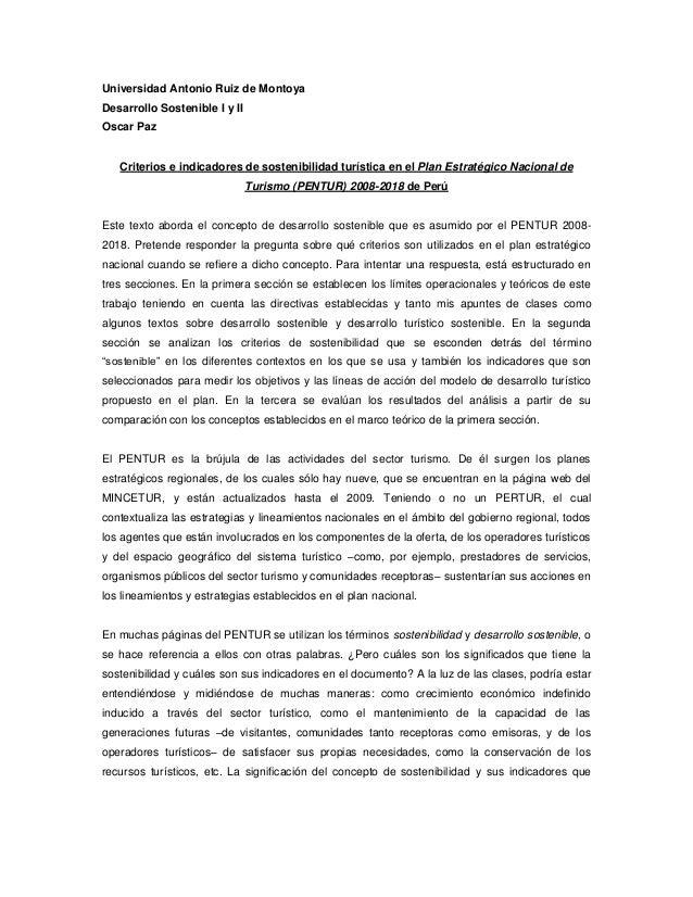 Universidad Antonio Ruiz de Montoya Desarrollo Sostenible I y II Oscar Paz  Criterios e indicadores de sostenibilidad turí...
