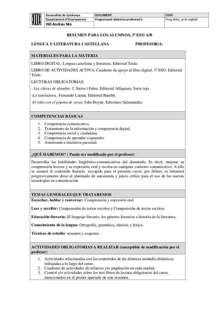 Generalitat de Catalunya        DOCUMENT                                      CODI         Departament d'Ensenyament      ...