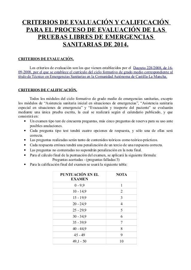 CRITERIOS DE EVALUACIÓN Y CALIFICACIÓN PARA EL PROCESO DE EVALUACIÓN DE LAS PRUEBAS LIBRES DE EMERGENCIAS SANITARIAS DE 20...