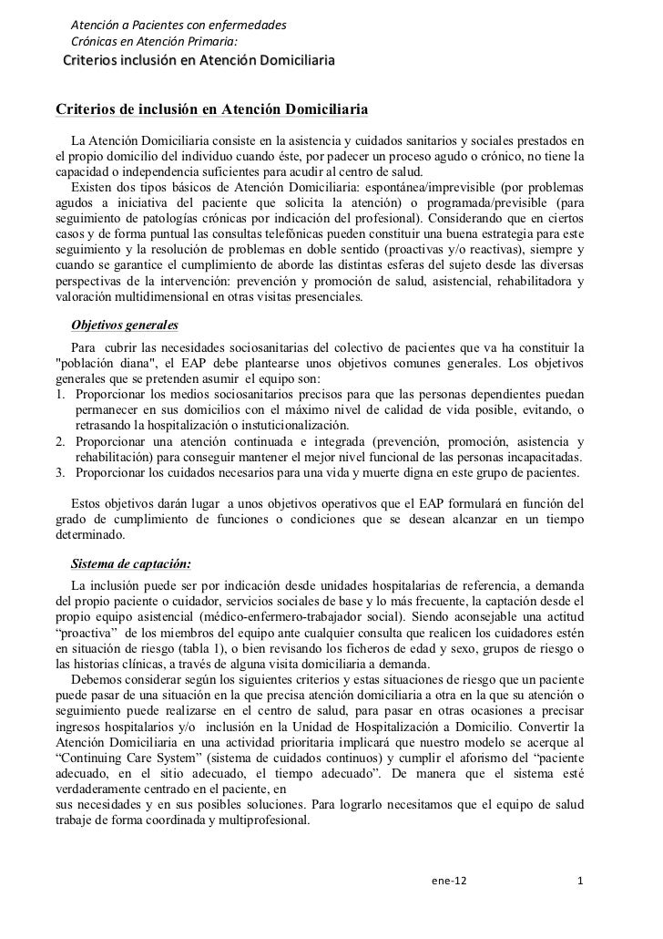 Atención a Pacientes con enfermedades           Crónicas en Atención Primaria:         Criterios ...