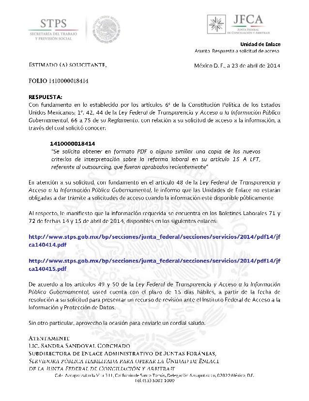 Junta Federal de Conciliación y Arbitraje Lunes, 14 de Abril de 2014 ESTE BOLETIN LO PUEDE UD. CONSULTAR EN INTERNET EN LA...
