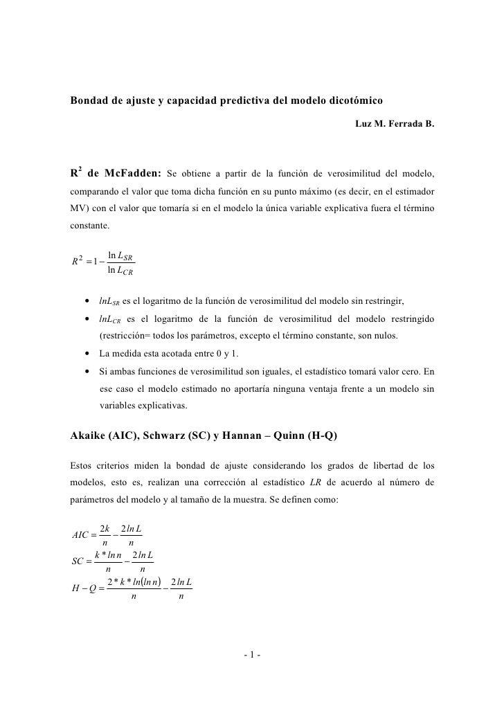 Bondad de ajuste y capacidad predictiva del modelo dicotómico                                                             ...
