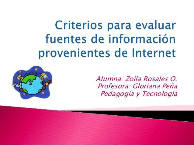 Alumna: Zoila Rosales O. Profesora: Gloriana Peña Pedagogía y Tecnología