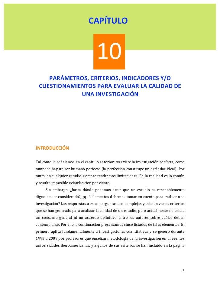 CAPÍTULO                                      10       PARÁMETROS,CRITERIOS,INDICADORESY/O    CUESTIONAMIENTOS...