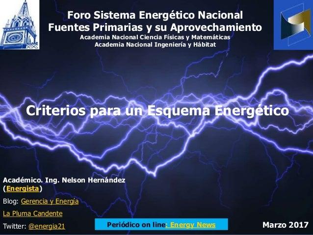 Criterios para un Esquema Energético Foro Sistema Energético Nacional Fuentes Primarias y su Aprovechamiento Academia Naci...